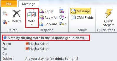 Office 365 Mail Voting Buttons Voting Buttons In Microsoft Outlook 2010 Microsoft
