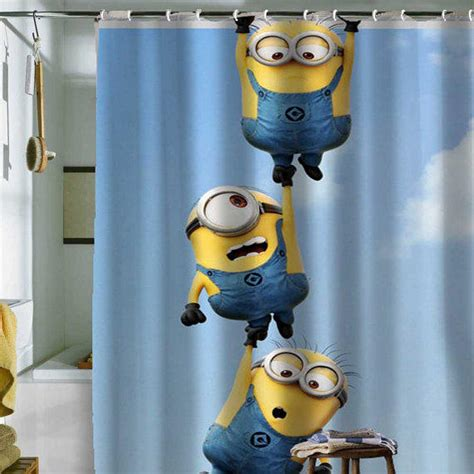 minion curtains minion shower curtain by from holidayshowercurtain on etsy