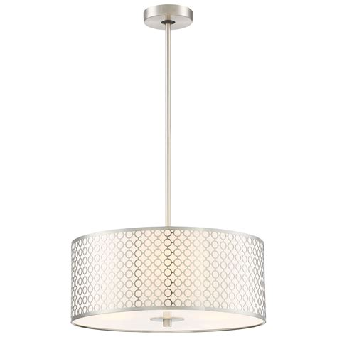 George Kovacs P1803 084 Pontil 3 Light Mini Dots Brushed Nickel Three Light Pendant George Kovacs Drum