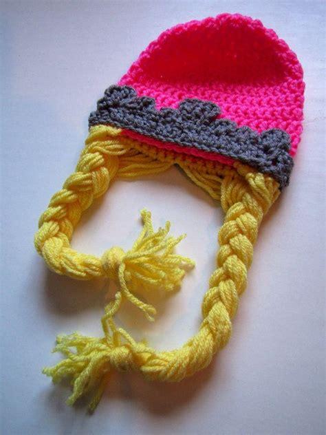 crochet princess hat with braids princess pink tiara crochet hat with long blonde braids