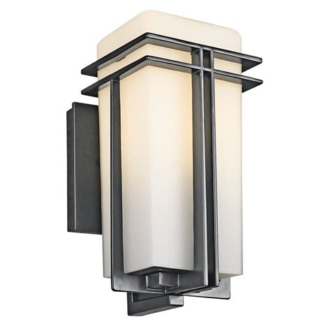 patio light fixtures shop kichler tremillo 11 75 in h black outdoor wall light