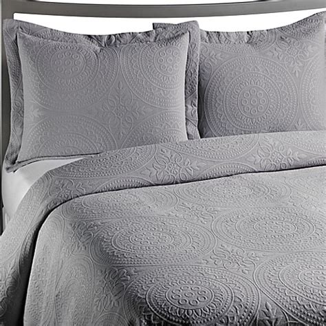 grey quilted coverlet buy vue royal medallion matelasse coverlet in grey from