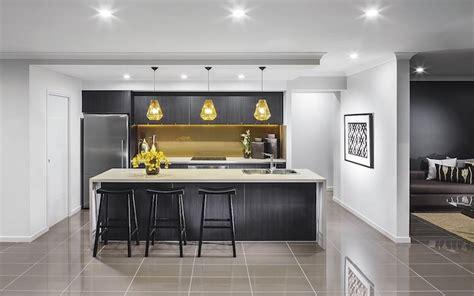 modele de cuisine ilot central noir avec comptoir blanc