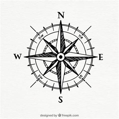 hand drawn vintage compass vector free download