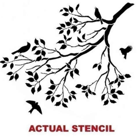 Cherry Blossom Tree Decals For Nursery by Wall Stencil Spring Songbirds Reusable Stencils Better