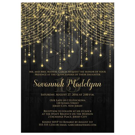 black and gold lights quincea 241 era invitation black and gold twinkle light cascades