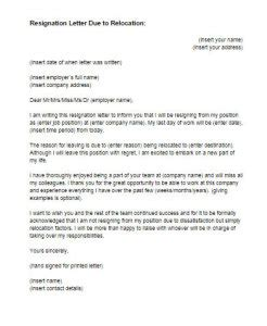 Resignation Letter Due To Moving Template Resignation Letter Due To Relocation Sle Just Letter Templates