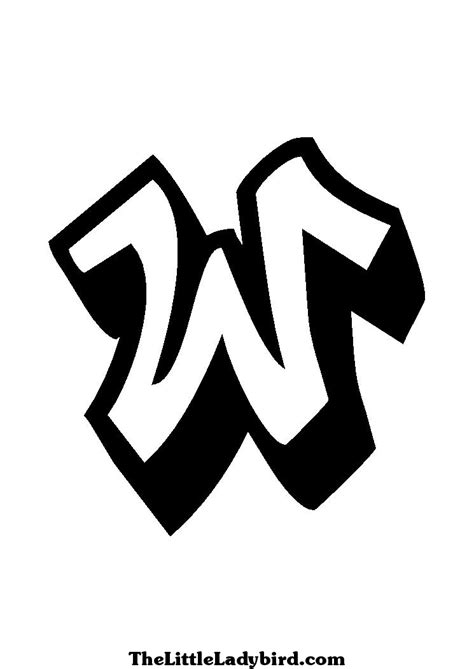 letter w | Coloring Page of Graffiti of the Letter W