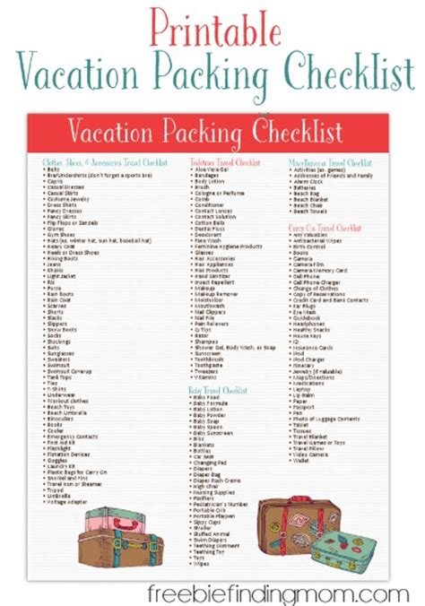printable vacation packing list  freebie finding mom