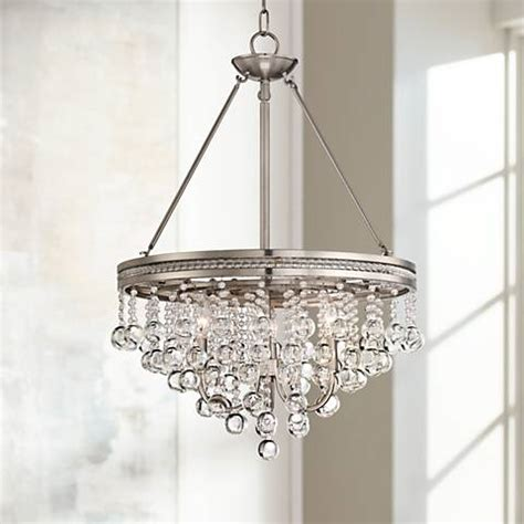 Brushed Nickel Chandelier With Crystals Brushed Nickel 19 Quot Wide Chandelier 3h066