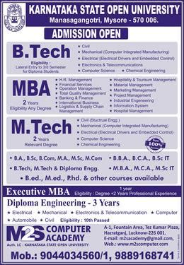 Ou Mba Admission Requirements by Karnataka State Open In Hazratganj Master