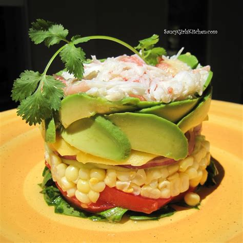 crab and avocado stack crab stack with mango avocado great food it s really