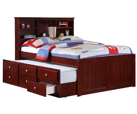 Full Size Bed With Trundle And Storage Full Size Captains Bed With Trundle By Donco Trading At