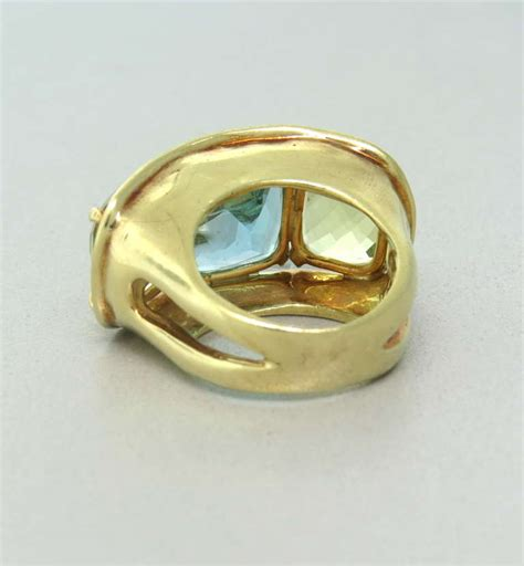 maz yellow gold citrine blue topaz ring at 1stdibs