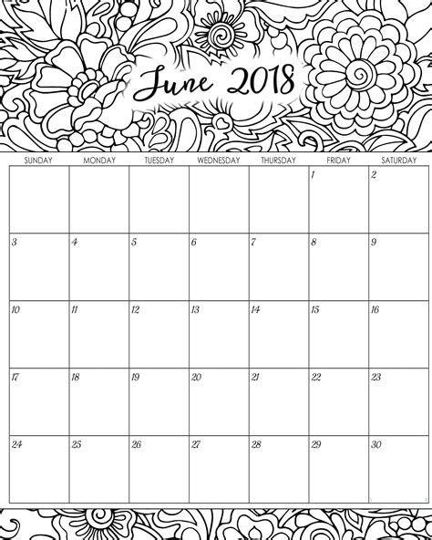Free Coloring Page 2018 by Monthly Calendar June 2018 Printable Template