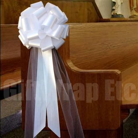 Church Pew Bows Aisle Decorations by 6 Large White Pull Bows Tulle Tails Wedding Church Pew