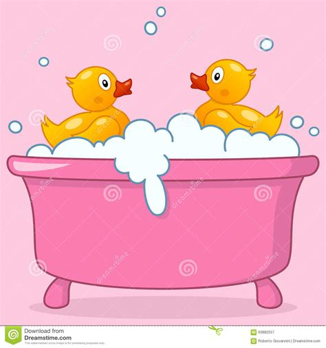 bathtub cartoon cartoon girl bathtub with rubber ducks stock vector image 63882557