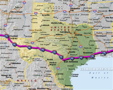interstate map of texas i 10 texas map
