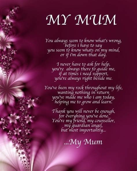Details about Personalised My Mum Poem Birthday Mothers