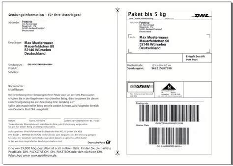 Dhl Versandaufkleber by Dhl Versandetiketten Paketaufkleber Selbstklebende Paket