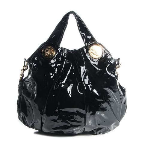 Gucci Hysteria Large Top Handle Bag by Gucci Patent Large Hysteria Top Handle Bag Black 87510