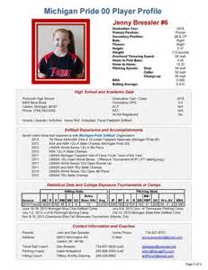 college recruiting profile template best photos of generic softball profile sheet player