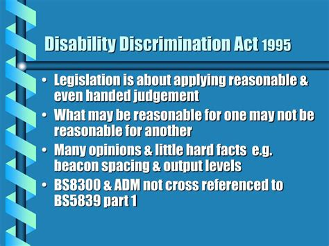 ppt disability discrimination act 1995 the background powerpoint presentation id 697935