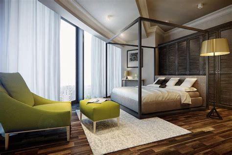 lozko  baldachimem  przestronnej sypialni inspiracja