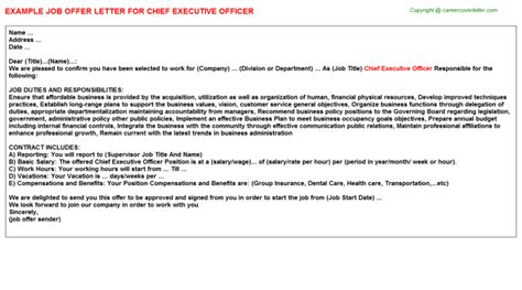 appointment letter format administrative officer chief executive officer offer letter