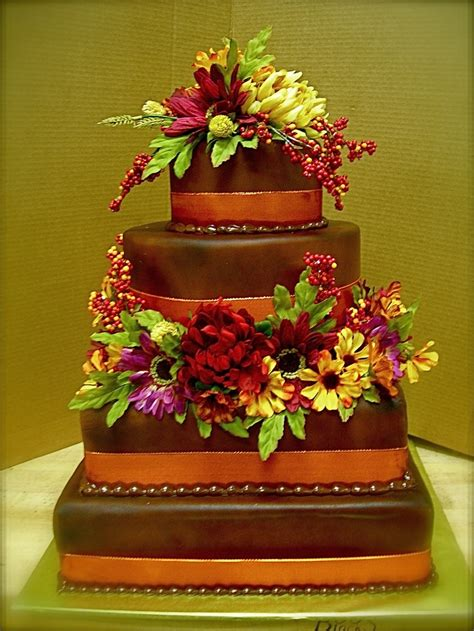 Wedding Cake Harvest by 4 Tier Chocolate Harvest Fondant Wedding Cakes