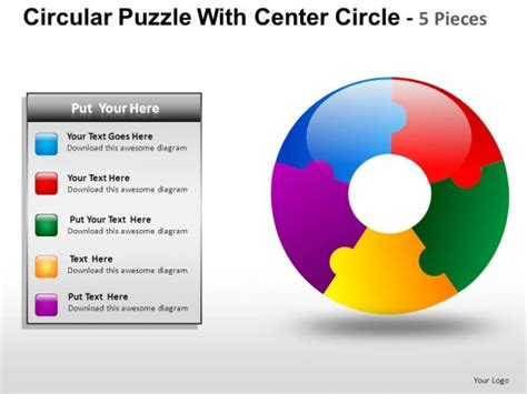 Circular Puzzle With Center 5 Powerpoint Presentation Slides Circular Jigsaw Puzzles