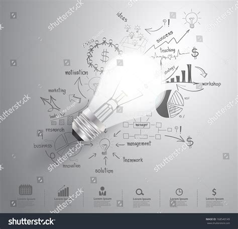 design inspiration agenda light bulb with drawing business success strategy plan