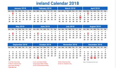 Calendar 2018 Ireland With Bank Holidays January 2018 Calendar Ireland Printable Editable Blank