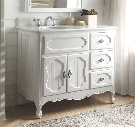 42 inch bathroom vanity cottage beadboard style white