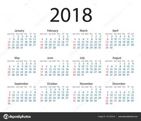 Calend Do Ano De 2018 Estilo Simples Do Ano Calend 225 2018 Semana Come 231 A No