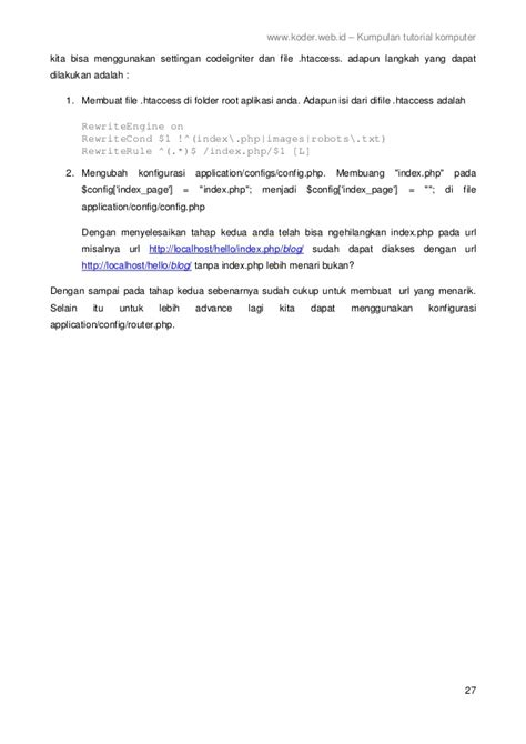 tutorial codeigniter bahasa indonesia framework codeigniter 2 bahasa indonesia