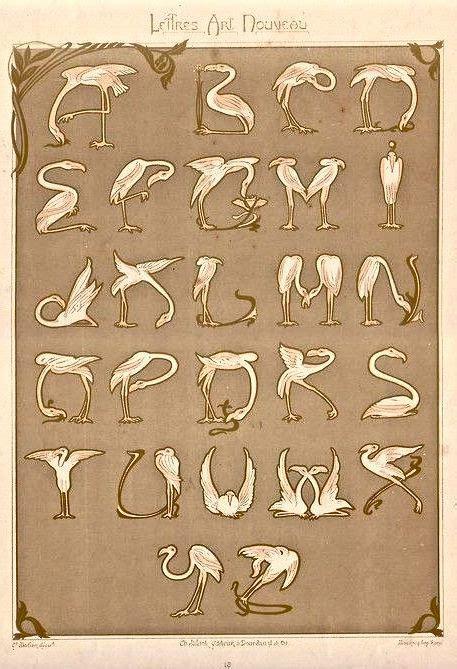 le mulier lettere c 1900 nouveau alphabet composed of flamingos