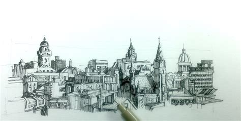 how to draw a panoramic city skyline or cityscape with buildings pen and ink drawing