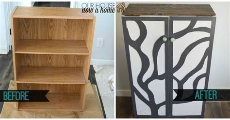 furniture refresh turning a bookshelf into a cabinet