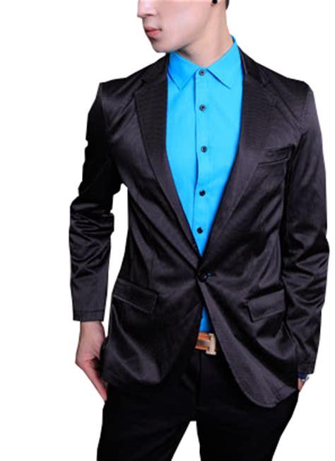 Blazer Pria Black Style Exclusive 69 luster black satin style mens blazer with pinstripe pattern