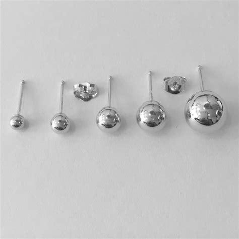 14k solid white gold stud earrings sizes 3mm 4mm 5mm