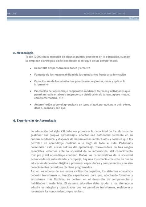 Modelo Curricular Globalizador Modelo Curricular Por Competencias