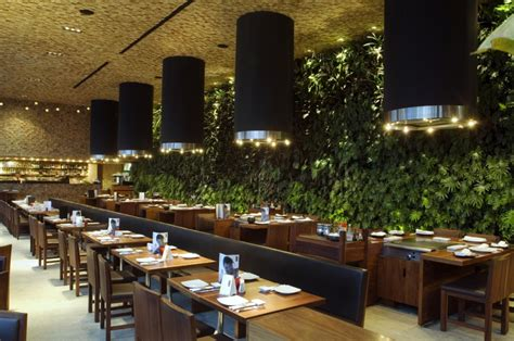 cuisine nature japonez glass restaurant with green wall