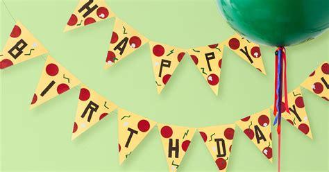 printable ninja turtle birthday banner tmnt printable pizza pendant birthday banner nickelodeon