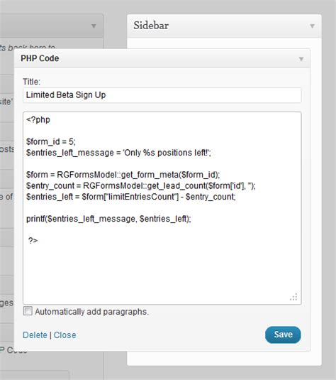 php simple code display entry limit in sidebar gravity wiz