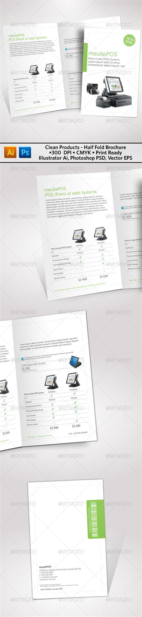 Clean Products Half Fold Brochure Graphicriver Half Fold Brochure Template Powerpoint