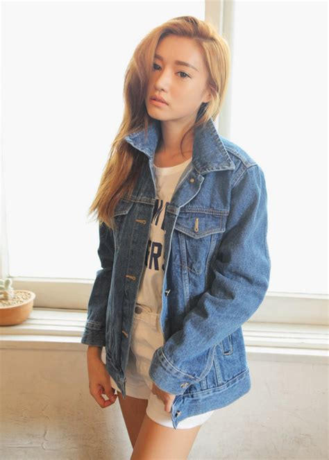 Jaket Wash Koreanstyle stylenanda blue boyfriend denim jacket kstylick korean fashion k pop styles