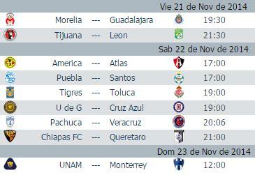 Calendario Liga Mx Jornada 17 Apertura 2015 Calendario Jornada 17 Apertura 2014 Futbol Mexicano
