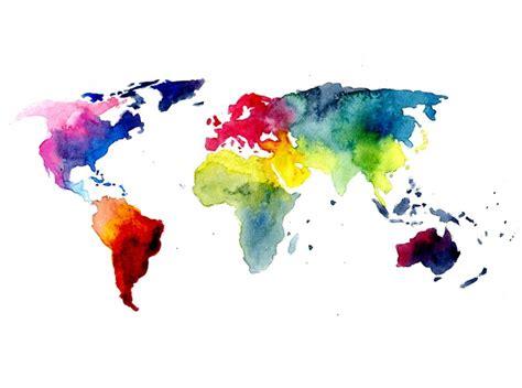 gradient watercolour world map tattoo design tattoos