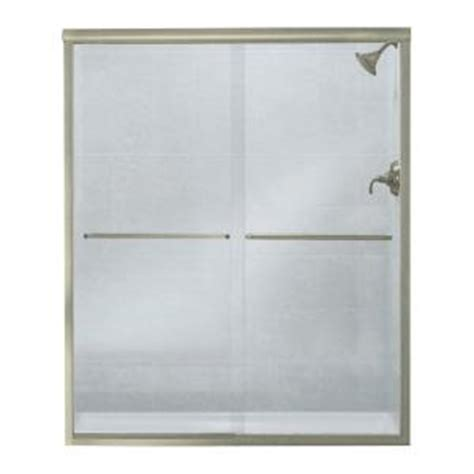 Sterling Glass Shower Doors by Sterling Finesse 59 5 8 In X 70 1 16 In Frameless Sliding Shower Door In Nickel With Lake Mist